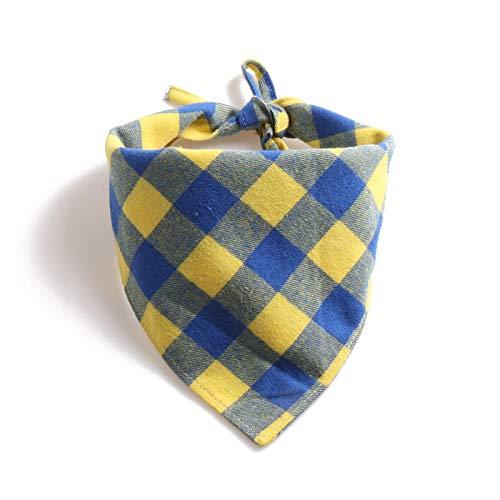 Nieuwe stropdas met grote plaid driehoek handdoek sjaals Amazon strappet huisdier slabbetje, 33*33*78cm, Blauw-geel rooster