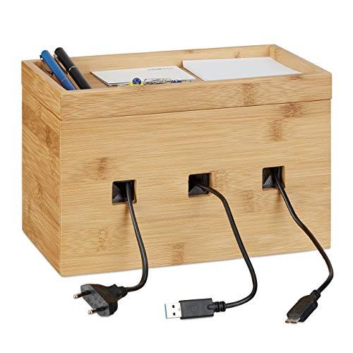 Relaxdays Kabelbox Bambus, Multi Ladestation Holz, Kabelmanagement Schreibtisch, H x B x T: 16,5 x 25,5 x 14 cm, natur