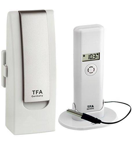 TFA Dostmann WEATHERHUB Observer Web Monitoring System mit Thermo-Hygro-Sender mit Profi-Temperatur-Kabelfühler, weiß, L138 x B101 x H291 mm