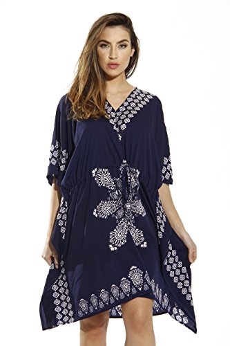 21714-NVY-2X Riviera Sun Caftan / Caftans for Women Navy