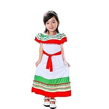 Girl s Mexican Dress Halloween Cospaly Costume Children Traditional Senorita Dance Dress  Red/Green L
