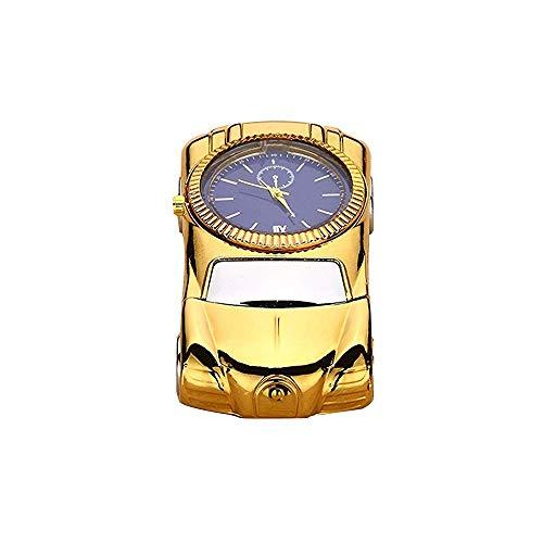 LEIWOOR Roadster Cigarette Arc Lighter Sports Car Plasma Lighter USB Electronic Torch Lighter with Watch for Men (Gold)
