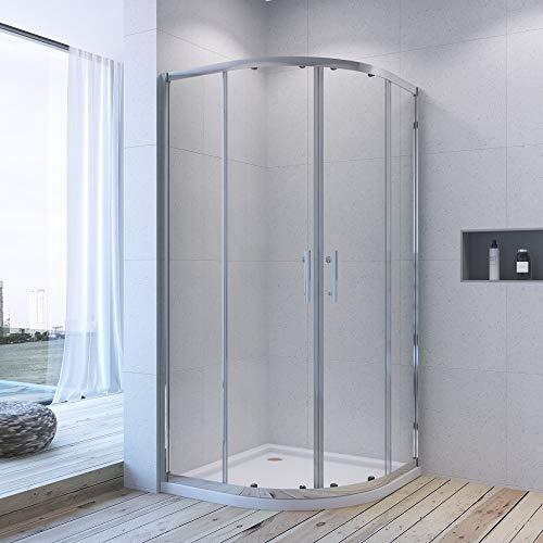 AQUABATOS® Duschkabine 90x90 cm halbrund Viertelkreis Schiebetür Duschabtrennung Runddusche Duschtrennwand Glas Höhe 185 cm