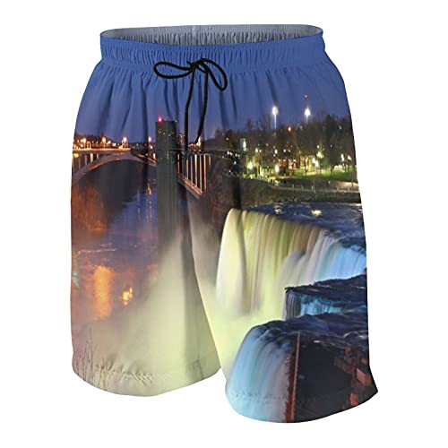 SUHOM De Los Hombres Casual Pantalones Cortos,Cerca de Las Cataratas del Niágara en la Noche Paisaje Americano Cascada,Secado Rápido Traje de Baño Playa Ropa de Deporte con Forro de Malla