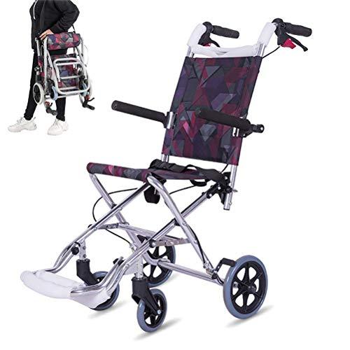 GFYWZZ Leichte Transport Rollstuhl, Aluminium Rahmen Folding Travel Stuhl, 20-Zoll-Sitz, Geeignet für Old Man Child Trolley