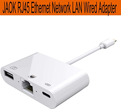 JAOK RJ45 Ethernet Network LAN Wired Adapter for iPhone/iPad,3 in 1 Ethernet Adapter & Charging & OTG USB Camera Reader Adapter,Support iOS 10.0 or Above
