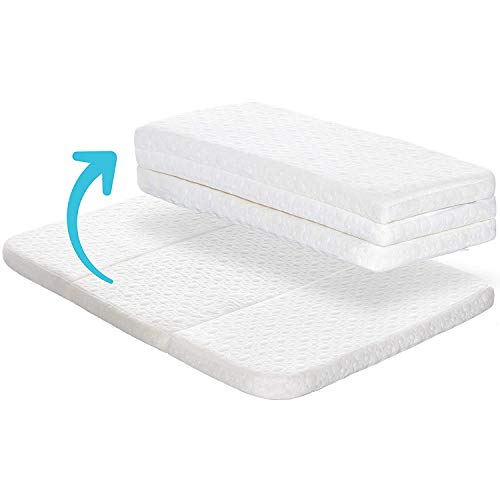 Milliard Tri-Fold Pack N' Play Mattress Topper - Plus Free Bonus Carry Case