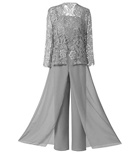 Sexy Women's 3 Pieces Chiffon Mother of Bride Dress Pant Suits with Long Sleeves Appliques Lace Pleat Jacket for Wedding(14,Silver (Apparel)