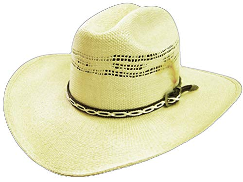 Modestone Unisex Feather Bangora Straw Chapeaux Cowboy 56 Off-White