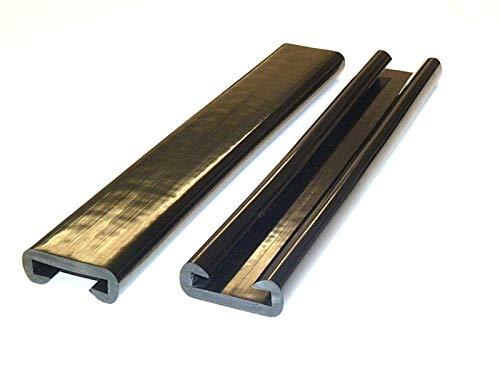 CHM - Pasamanos de plástico para escaleras, 5 m, 40 x 8 mm, color negro, Gris