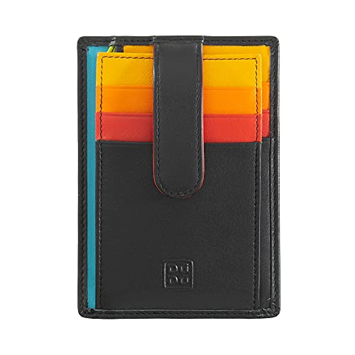 Porta carte di credito in pelle multicolore con fettuccia DUDU Nero