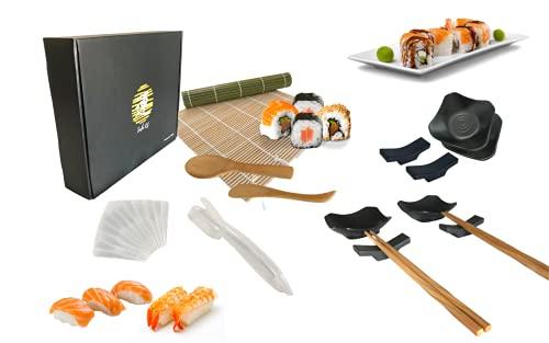 IMERO Sushi kit Set sushi giapponese per 4 persone (18 pezzi), stuoia sushi in bambu, 4 bacchette, 4 ciotoline salsa, 4 poggia bacchette, stampi per nigiri, uramaki, hosomaki e temaki fai da te
