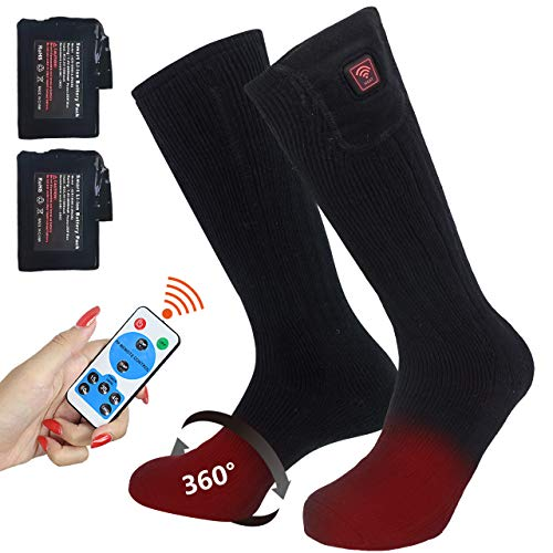CREATRILL Heated Socks w/Rechargeable Batteries, Men Women Winter Heating Thermal Sock w/Remote Control for Cold Feet Ski Hunting Camping Hiking Riding Motorcycle Foot Warmer