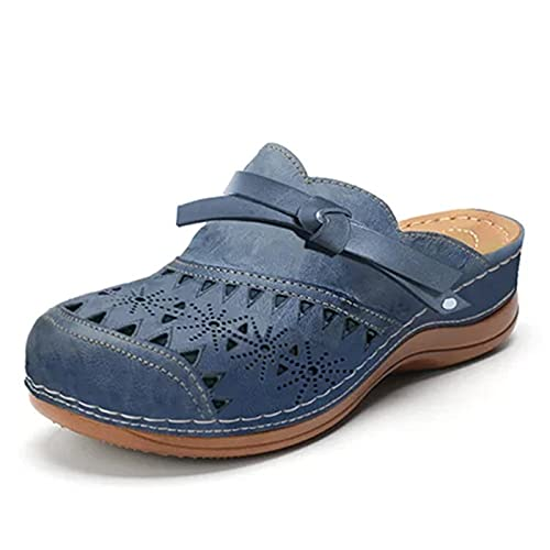 BAOFUBA Damen Slip-on Sneakers Premium Flat Shoelaces, Leather Flat Loafers Shoes Summer Shoes, Beach Shoes, Casual Round Toe Breathable Hole Sandals Comfortable Running Driving Shoes