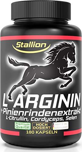Stallion L-Arginin + L-Citrullin, Pinienrindenextrakt 100:1 extra stark + hochdosiert STARTE DURCH MIT STALLION! 180 Kapseln, plus Cordyceps sinensis CS-4 Extrakt 10:1, Selen, 1 Dose (1x140g)