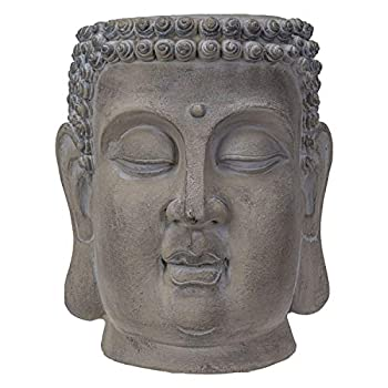 Pacific Giftware Decorative Large Zen Buddha Head Resin Planter Pot Rustic Patina Eastern Enlightenment Zen Garden Indoor Outdoor  14.75  L x 13  W x 13  H