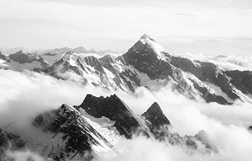 Bilderdepot24 Fototapete selbstklebend Mount Cook - Neuseeland - schwarz weiß 230x150 cm - Bergpanorama mit Gletscherkette
