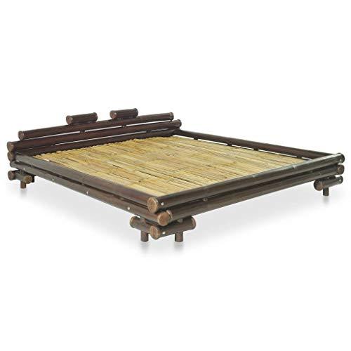 vidaXL Bambusbett 160x200cm Dunkelbraun Bett Futonbett Doppelbett Holzbett