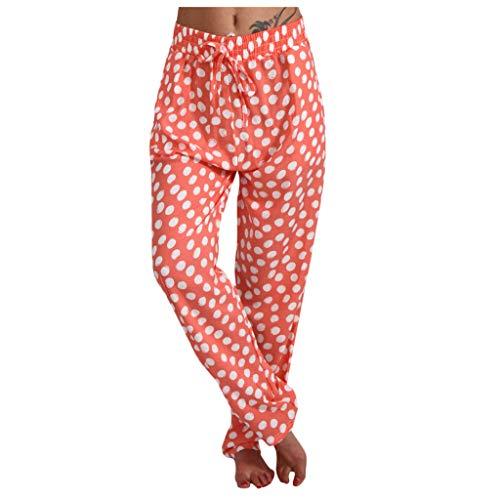 WINTOM Schlupfhose Freizeithose Bedruckte Yogahose Damen Baumwolle High Waist Sommerhose Damen 7/8 Damen Sporthose Freizeithose Sommer Baumwolle Lässige Hosen Damen Baumwolle Beach Pants mit Taschen