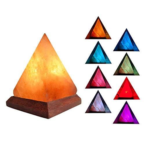 Mlamat piramidelamp met negatieve ionen met gekleurd licht van Himalaya zout met houten sokkel