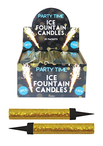 Henbrandt 24 x GOLD Ice Sparkling Fountain Candles (Packs of 2) - 48 Total