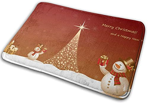 Bath Mat Christmas Tree & Snowman Memory Foam Bath Mats Non Slip Soft Absorbent Bath Rugs Rubber Back Runner Mat for Kitchen Bathroom Floors White