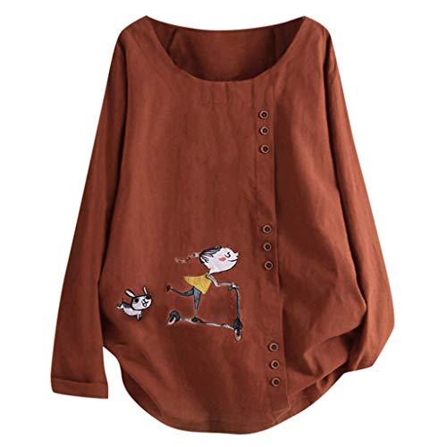 TUDUZ Blusas Mujer Manga Larga Camisas Botón Camisetas Impresión Tops Suelto Talla Extra M-5XL (Naranja.f, XXXXXL)