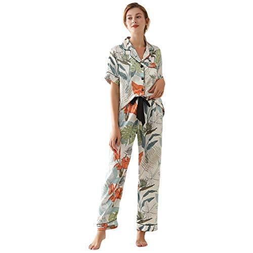 tmtonmoon Conjunto de pijama corto de satén para mujer, ropa de noche, ropa de casa, ropa de dormir, parte superior y pantalones con bolsillos para mujer c XL