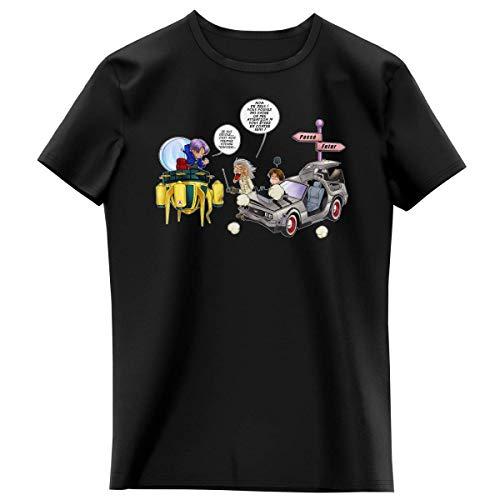 T-shirt Enfant Fille Noir parodie Dragon Ball Z - Retour vers le Futur - Trunks Vs Doc et Marty Macfly - Collision dans les Couloirs du Temps ! (T-shirt enfant de qualité premium de taille 6 ans - im