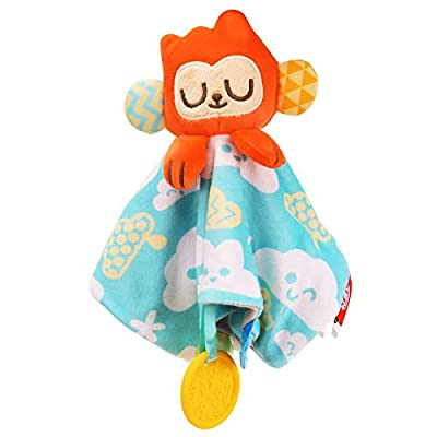 Lovies for Babies, Unisex Baby Security Blanket with Soft Plush Teething Towel Toy with Teether for Newborn Toddlers, Monkey