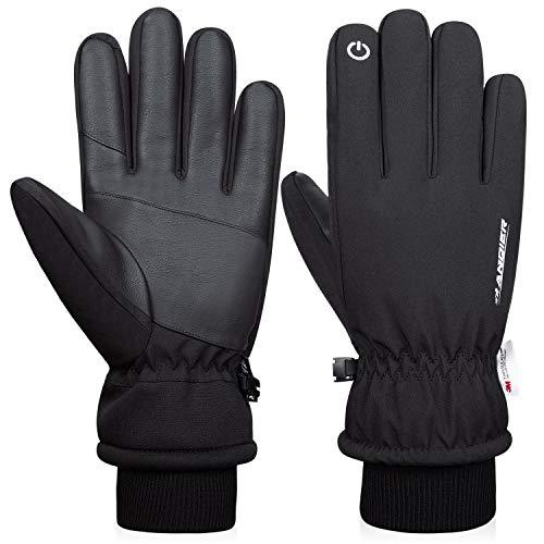 Anqier Winterhandschuhe Herren Damen Touchscreen Fahrradhandschuhe Winter Wasserdicht Thinsulate Handschuhe für Reiten Skifahren Wandern Radfahren Motorrad