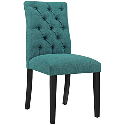 Modway MO- Duchess Modern Tufted Button Upholstered Fabric Parsons, Dining Chair, Teal