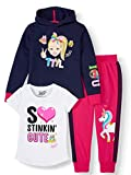 JoJo Siwa Unicorn Graphic Hoodie, Top and Legging, 3-Piece Outfit Set (M 7/8, Navy/White/Hot Pink)