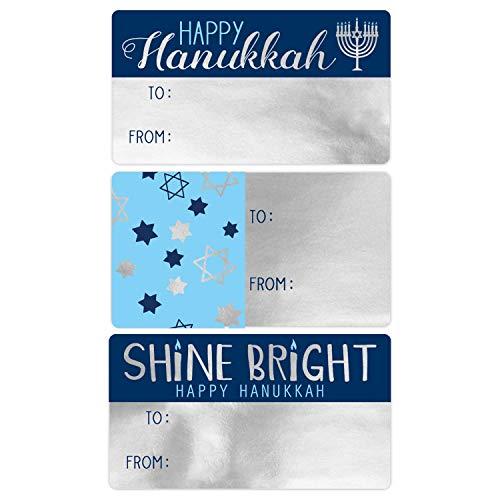 Hanukkah Gift Tags, 75 Stickers (Metallic Silver Foil)