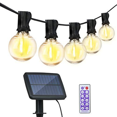 Catena Luminosa LED Energia Solare e USB Ricaricabile, Luci Stringa da Giardino Impermeabile IP65, 4 Modalità, Luci da Esterno 12+1 Lampadine LED G40 Bianco Caldo per Giardino, Casa, Festa Natale