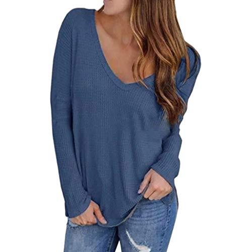 DQANIU Damen Bluse, Plus Size Damen Mode V-Ausschnitt Schulter Solid Color Print Lose Wild Bat Langarm Top