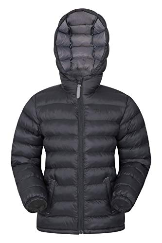 Mountain Warehouse Seasons Gepolsterte Jacke für Kinder, geeignet für alle Jahreszeiten - wasserdichte Winterjacke, leicht & warm Schwarz 9-10 Jahre