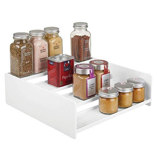 mDesign - Kruidenrek - lade-organizer - voor keuken, badkamer en kantoor - voor ingrediënten en specerijen - ruimtebesparende opbergmogelijkheid/uitschuifbaar/4 etages - wit