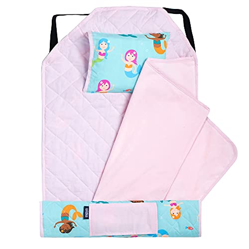 Wildkin Kids Modern Nap Mat with Pillow for Toddler Boys & Girls, Ideal for Daycare & Preschool, Features Elastic Corner Straps, Cotton Blend Materials Nap Mat for Kids, BPA-free (Mermaids)