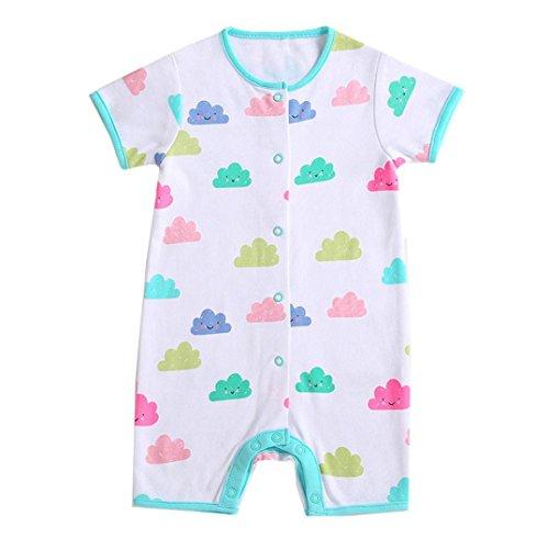 Combinaison de Bébé Filles, Paolian Été Bébé Fille Jumpsuit Impression de Nuages en 100% Coton Vêtements d'escalade pour 0-24M (24M, Blanc)