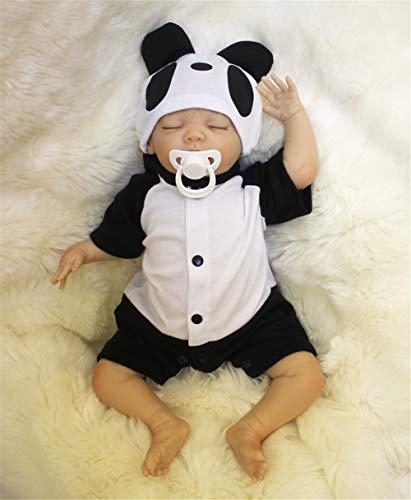 ZIYIUI Occhi Chiusi Bambola Reborn Bambino Bambole Maschio Reborn Babys Dolls Bambolotti di Silicone Dormire Ragazzo 20 Pollice Panda Outfit