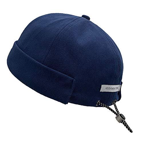 Croogo Unique Drawstring Brimless Cap Vintage Style Docker Hat Rolled Cuff Skull Sailor Cap, Blue, 22-23inch