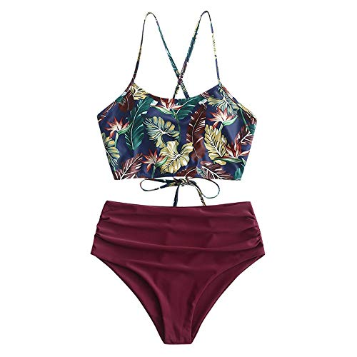 ZAFUL Damen Zweiteiliger Bikinis, gepolsterter Badeanzug mit Blattdruck Schnür-Tankini Oberteil hochtaillierte Shorts gemischter Badeanzug (Blätter-Rot, S)