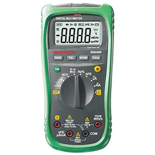 Mastech MS8360F Multimetro digital CAT.III 600V AC/DC, 10A, Resistencia 40MΩ, 4000 cuentas, Seleccion de rango Automatico, NCV (Detector de voltaje sin contacto), Negro/Verde