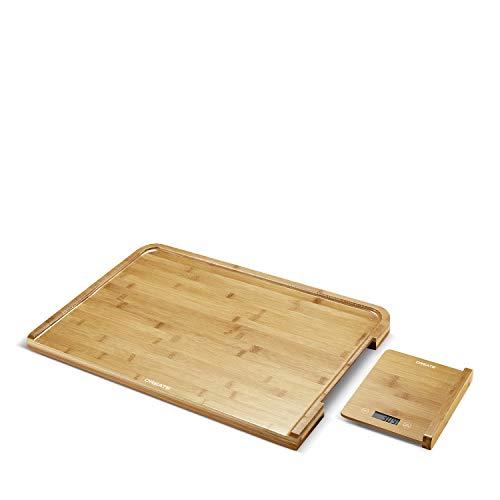 IKOHS - Tagliere da cucina in bambù con bilancia integrata