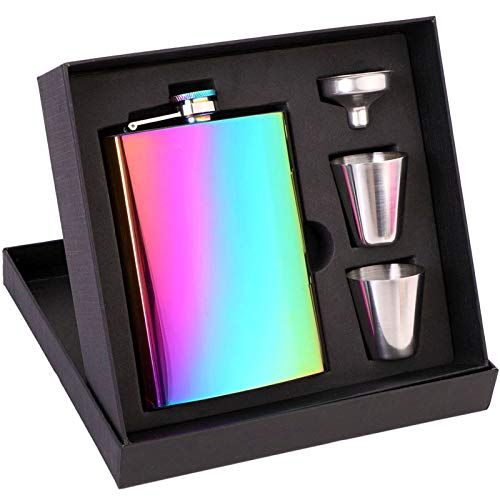 IGTAZY Hip Flasks for Liquor Sets for Men/Women, Personalized Gifts Stainless Steel with 2 Cups+1funnel for Husband Christmas Birthday (Rainbow Colors)