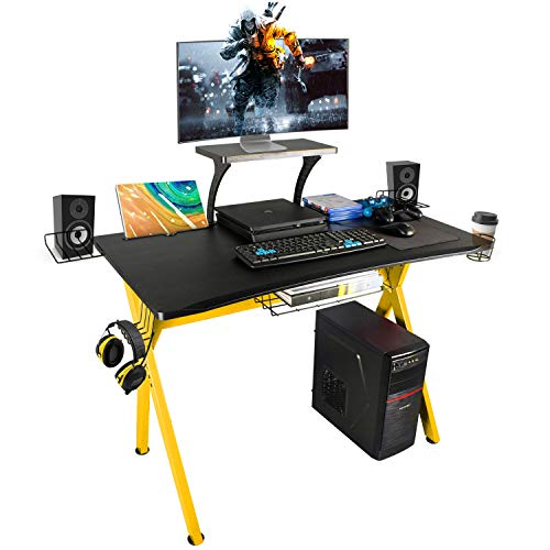 LAZZO X Type Gaming Desk 41' Game Table Home Computer Desk with Display Support Plate, Cup Holder and Headphone Hook,Gamer Workstation, Curved Front Desktop,Red & Black Design(41' Wx23.5 D)