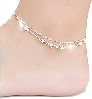 Little Star Women Chain Ankle Bracelet Barefoot Sandal Beach Foot Jewelry Alloy Silver 25cm enkelbandje Anklet
