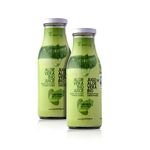 Green Frog Jugo de Aloe Vera Bio con Pulpa, Aloe Vera Fresco para Beber Ecológico Elaborado en España Pack de 2 Botellas, 2x500 ml