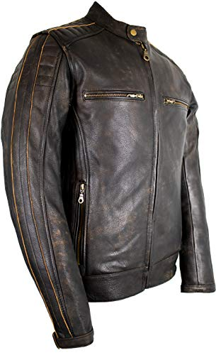 MDM Vintage Gesteppte Motorrad Lederjacke im Used Look/Antiken Stil (L)